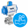 Pneumatic actuators with ball valve