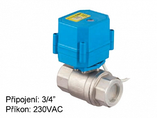 Two-way rotary mini valve Tork DN 20 with el. actuator 230 VAC