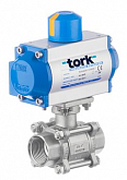 Stainless steel 2-way ball valve TORK DN 32 with single-acting SR pneumatic actuator